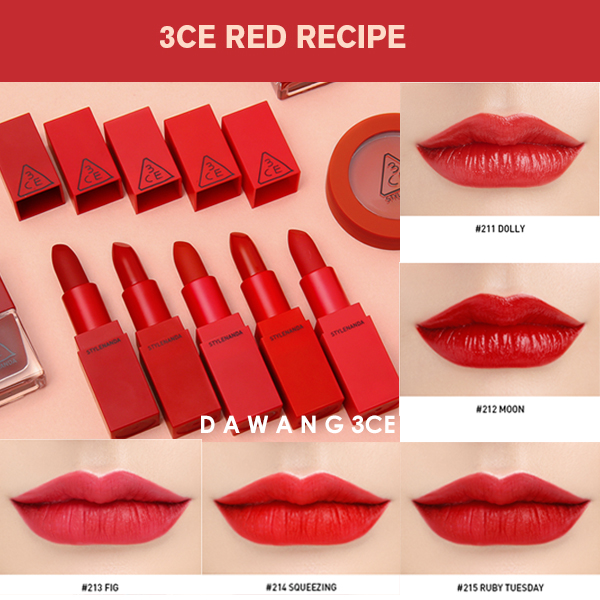 [3CE] Son thỏi lì 3CE Red recipe